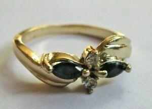 AgréAble Chic Bague Plaqué Or Saphir Foncé Cristaux Diamant Taille 56 Bijou Vintage 242