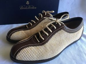 abacae1891a9d Image is loading Brooks-Brothers-Women-Brown-Cream-Canvas-Woven-Leather-