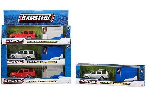 Teamsterz 4x4 Car Jeep and Horsebox With Horse Die cast, freewheeling Toy Pony