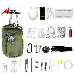 29-Tool-Survival-kit-550-Paracord-Grenade-EDC-Outdoor-Fishing-Camping-Olive-Drab