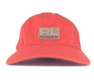 b4f34c49456b1 Ralph Lauren Polo Jeans Co Red Baseball Cap Hat Adj Adult Size Fits ...