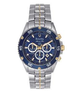 Bulova-Marine-Star-Men-039-s-98H37-Quartz-Chronograph-Two-Tone-Bracelet-40mm-Watch