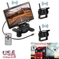 Two Camera Wireless 7 Monitor Hd 12v/24v Ir Reversing Ccd Camera Kit Us Stock