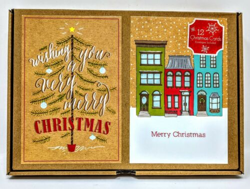 12 Christmas Cards /& Envelopes Included