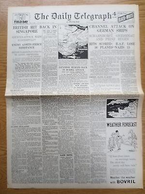 WW2 Wartime Newspaper Daily Telegraph February 13 1942 Scharnhorst Singapore