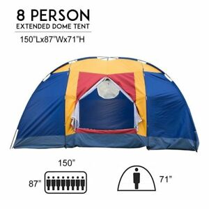 8-Person-Portable-Family-Large-Tent-for-Traveling-Camping-Hiking-amp-Blue