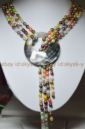 """AAA 50/"""" 2 brins Multi-Color 6-7 mm Naturel Perles nacklaces Shell Pendentif Fermoir"""