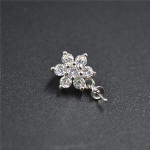 Diamond-Flower-925-Pearl-Pendant-Mount-Sterling-Silver-Women-Necklace