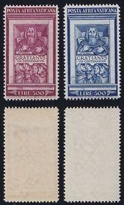 """Vaticano 1951 P. A. """"Graziano"""" n.20-21 serie nuova MNH** gomma integra, centrata"""