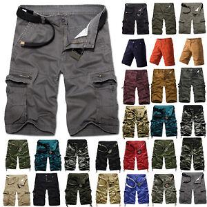 Herren-Sommer-Bermuda-Combat-Cargo-Freizeit-Shorts-Militaer-Hose-Sports-Kurzehose