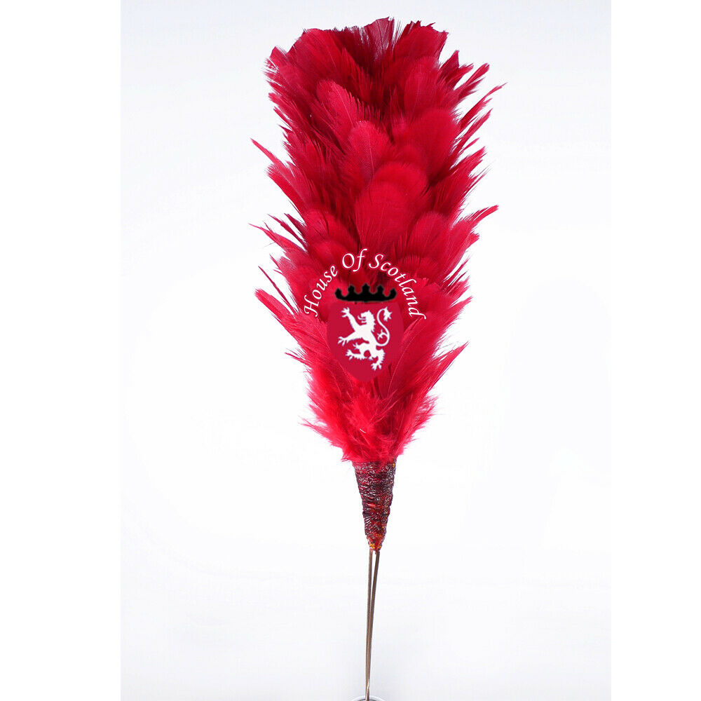 Glengarry Cap Plume Feather Hackle Balmoral Hats Highland wear Red 6