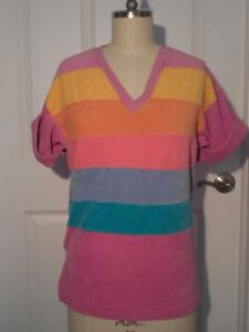The-Best-NWT-Vintage-RAINBOW-STRIPES-Velour-TOP-V-Neck-GAY-PRIDE-Large-NOS