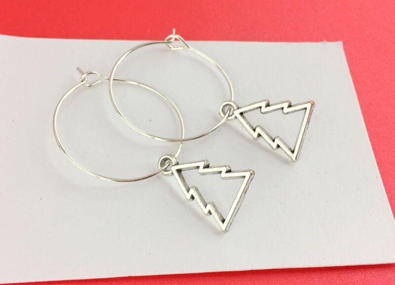 Geometric Christmas Tree Hoop Earrings - 25mm Diameter Small Silver Plated Xmas