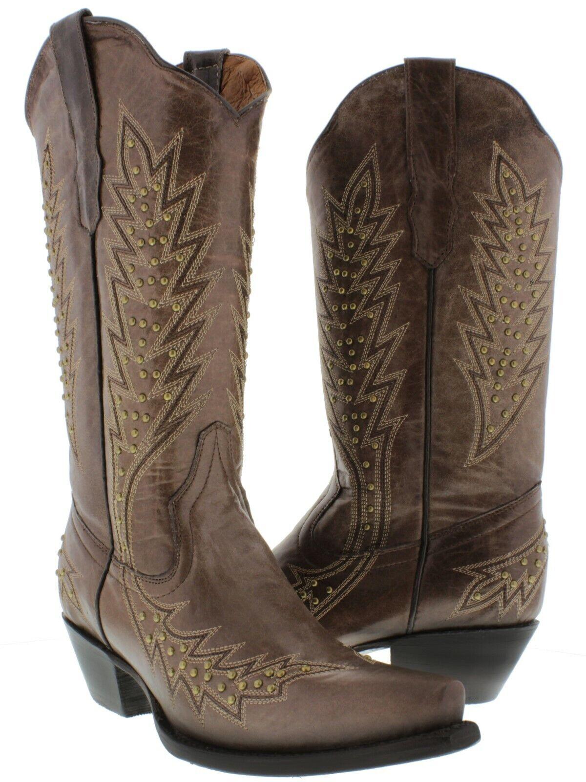 tempo libero donna Marrone Studded Cowgirl stivali oro Genuine Leather Snip Snip Snip Toe  risparmia il 35% - 70% di sconto
