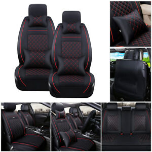 US-5-Seats-Car-SUV-PU-Leather-Seat-Cover-Black-amp-Red-Front-Rear-Cushions-w-Pillows