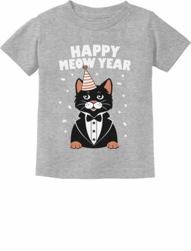 Happy New Year Cute Cat Toddler//Infant Kids T-Shirt Gift Happy Meow Year