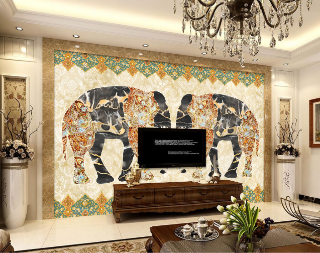 3D Abstract Elephant 7 Wall Paper Murals Wall Print Wall Wallpaper Mural AU Kyra