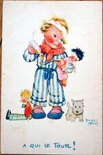 1920s Beatrice Mallet/Artist-Signed Postcard: Child w/Medicine, Dolls, Dog
