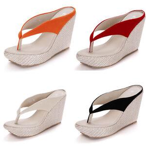 24ae97df4 New Women High Heel Beach Sandals Shoes Flip Flops Straw Braid ...