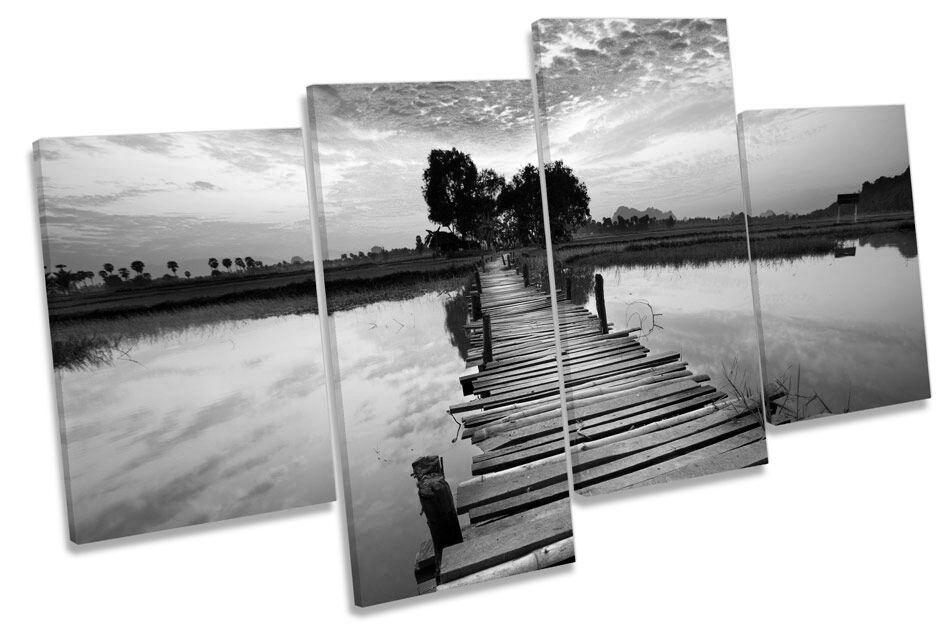 Tropical Sunset PONTE FIUME FIUME FIUME B&W A MURO ARTE Multi Box incorniciato 958af7