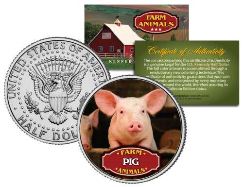 PIG JFK Kennedy Half Dollar U.S Colorized Coin Collectible Farm Animals