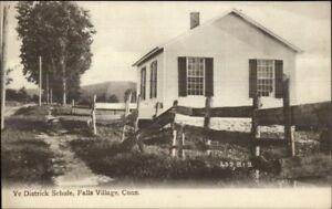 Falls-Village-CT-Ye-District-School-Schule-c1910-Postcard