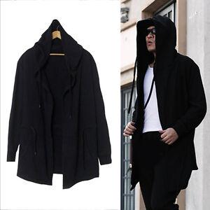Men-039-s-Hooded-sweater-cardigan-long-black-cloak-cape-coat-hip-hop-Coat-Fashion