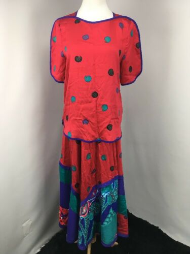 VTG 80s JEANNE MARC OUTFIT 8-10 S 2pc Dress Blouse