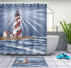 Image Is Loading Candy Cane Lighthouse Shower Curtain Bathroom Mat Waterproof