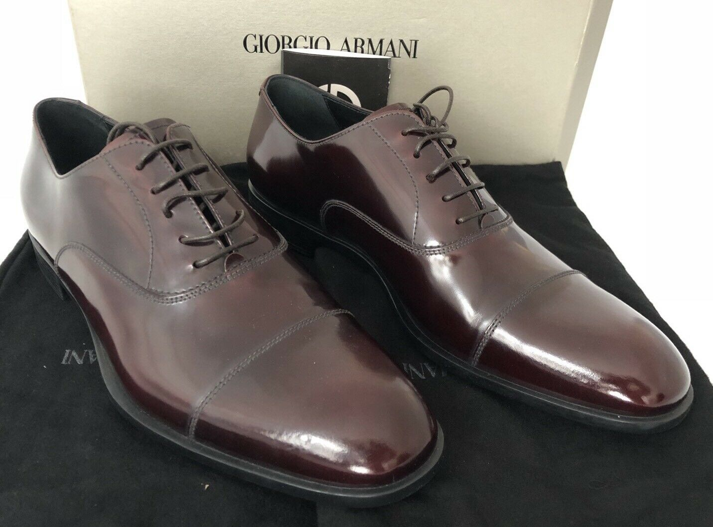 NIB  675 Giorgio Armani Pelle Uomo's Galaxy Brown Oxford Shoes 12.5   X2C455