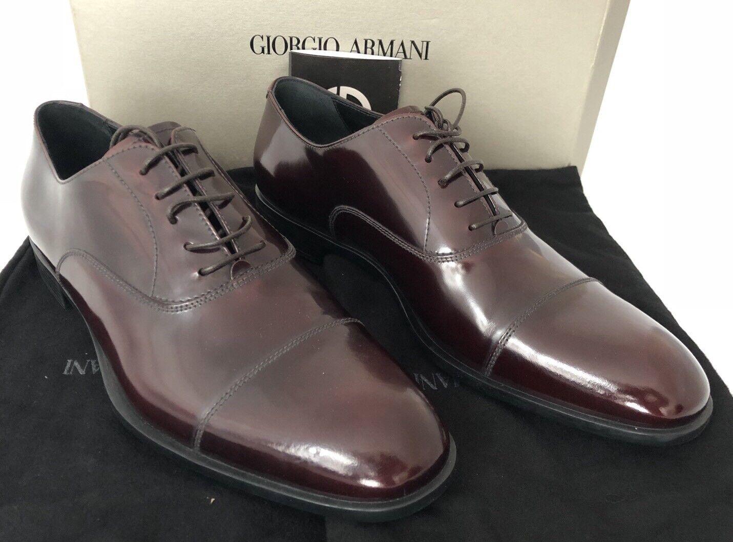 NIB  Giorgio Armani Leather Men's Galaxy Brown Oxford shoes 12.5 US X2C455