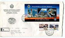 1998 FDC San Marino La bandiera nello spazio emigr. RACCOMANDATA First Day Cover
