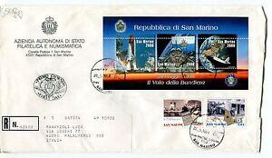 1998 Fdc San Marino La Bandiera Nello Spazio Emigr. Raccomandata First Day Cover Finement Traité