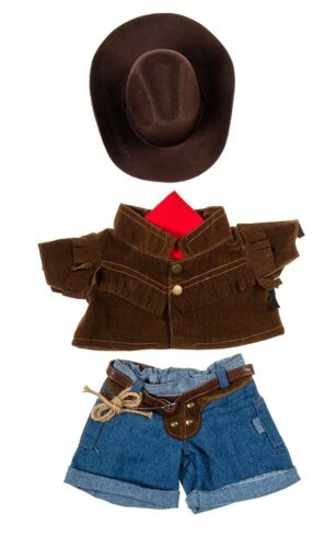 "Teddy Bear COWBOY Outfit w// BROWN HAT CLOTHES Fit 14/""-18/"" Build-a-bear !!NEW!!"