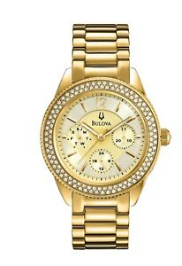 Bulova Women's Quartz Swarovski Crystal Accents Gold Tone 36mm Watch 97N102