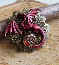 steampunk brosche amulett dragon drache drachen brooch gothic skull rot amulett