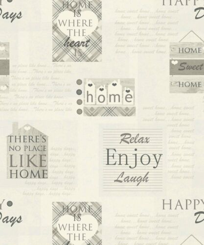 Arthouse 888600 Happy Days Wallpaper Charcoal