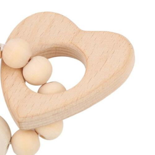 Wood Wooden Baby Teether Bracelet Crochet Beads Teething Ring Play Chewing Toy S