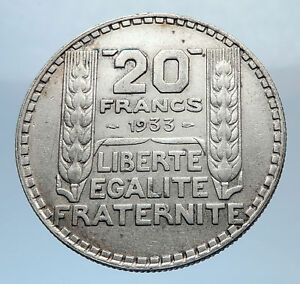 1933-FRANCE-Authentic-Large-Silver-20-Francs-Vintage-French-MOTTO-Coin-i71835