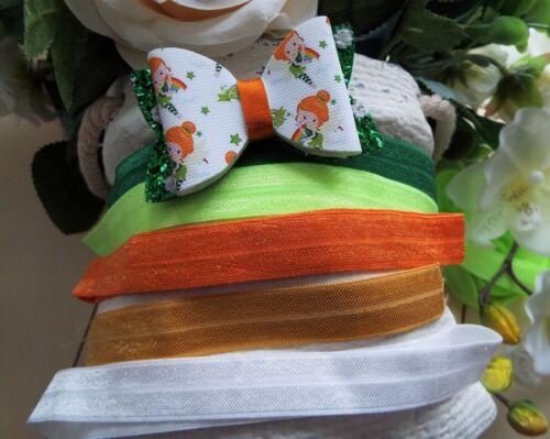 St Patrick/'s Day Hair Bow//Headband Girls Hair Bow//Headband Pigtails Set