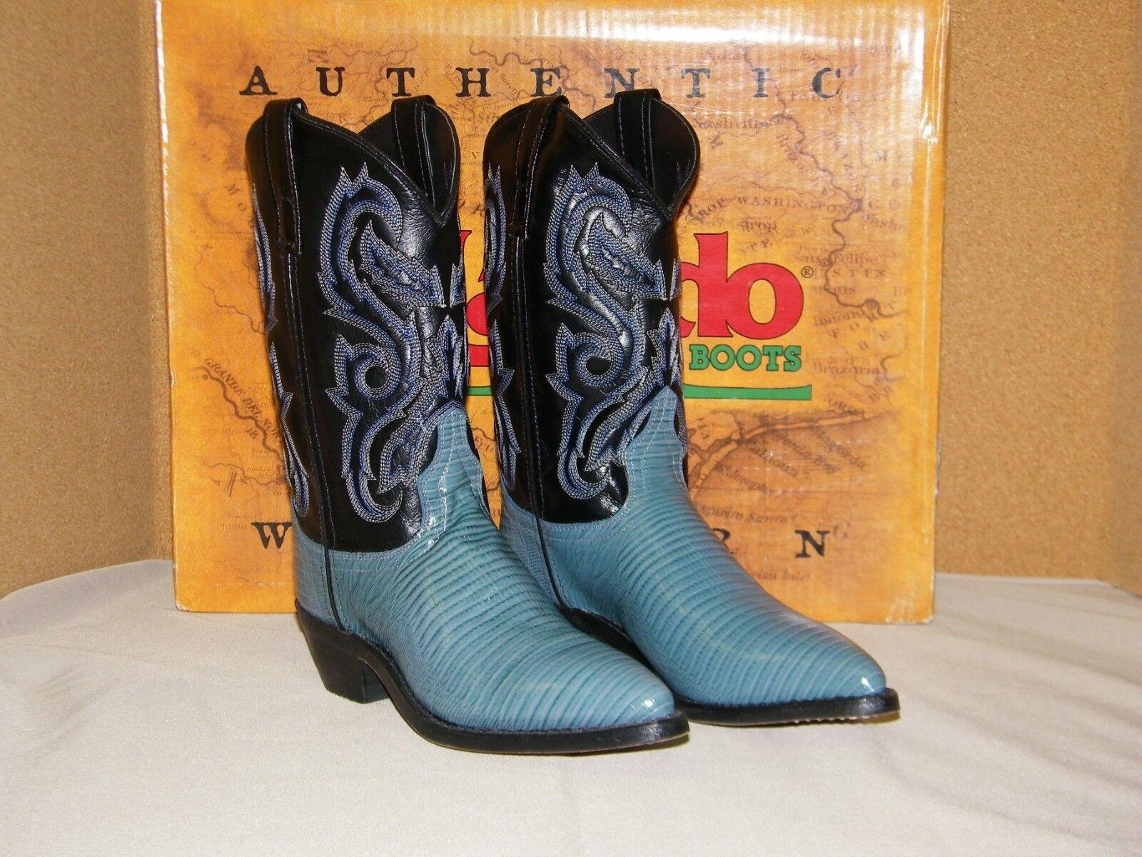 Larojoo para mujer joven joven joven Azul Lagarto grabado en punta de cuero botas de Vaquero 6-1 2M  todos los bienes son especiales