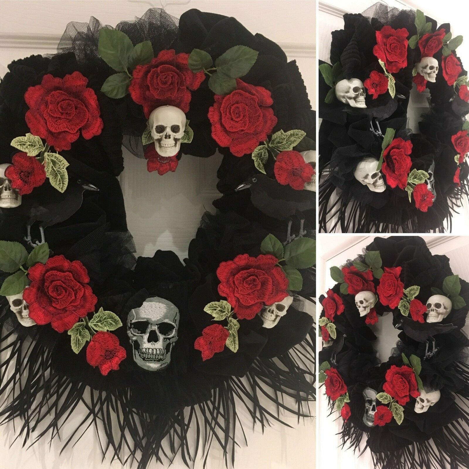 Halloween Day of the dead gothique noir couronne Cranes roses Ravens plumes 14