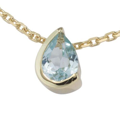 Remolques con blautopas topacio azul claro gotas 333 oro dorado oro colgante