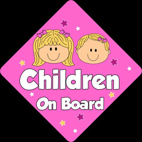 2 Niños Bebé a bordo de ventana de coche señal non Personalizado Nuevo Niñas Rosa