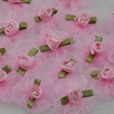 U pick 250/50pcs Organza Ribbon Flower W/Rose Appliques Craft Wedding A037