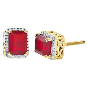 Image Is Loading 10k Yellow Gold Genuine Round Diamond Amp Ruby