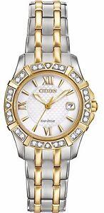 Citizen-Eco-Drive-Women-039-s-Two-Tone-Diamond-Bezel-Bracelet-26mm-Watch-EW2364-50A