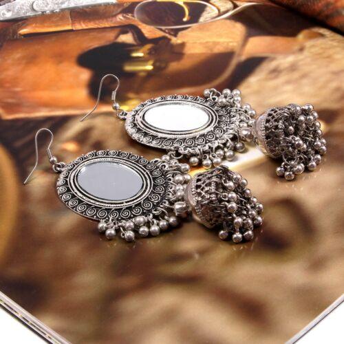 Bollywood allemand plaqué argent fait main miroir jhumka JHUMKI Boucles d/'oreilles femmes #50