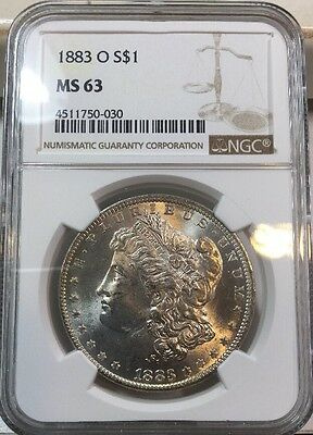 MS 63 Blast White 1884-O NGC MS63 Morgan Silver Dollar Radiant Mint Luster