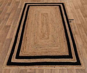 Rug 100% Natural braided jute runner rug modern rustic look area carpet rag rug